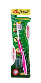 فرشاة أسنان الحماية باللون الوردي